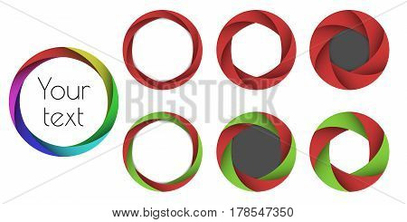Set the colored lens aperture or wreath frames on a white background