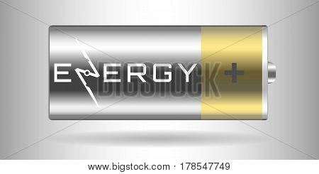 Energy logo with wind-driven generator against the background of the 3d battery