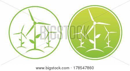 Vector set of alternative and renewable energy. Wind