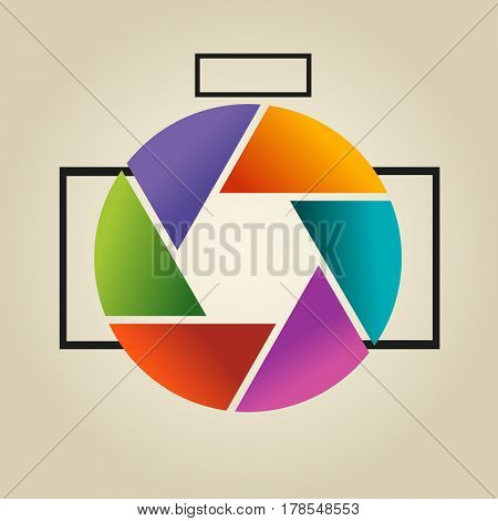 Multi-colored Vector Logo In The Form Of Lens And Diaphragm Of Photoappar On Light Background