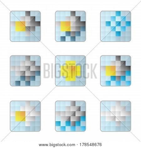 weather 8bit icons on a white background