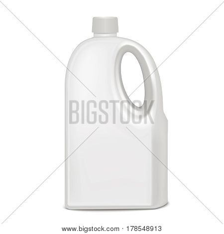 Realistic Template Blank White Plastic Bottle Empty Mock Up for Detergent, Liquid. Vector illustration