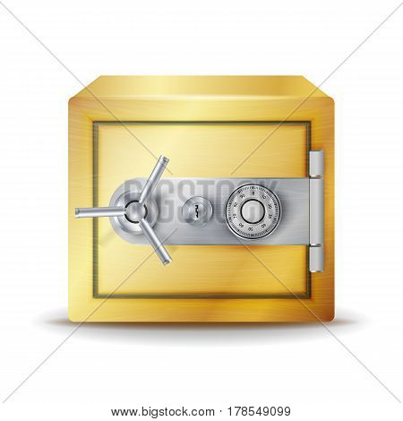 Metal Safe Realistic Vector. Gold Deposit Box For Safety Concept.