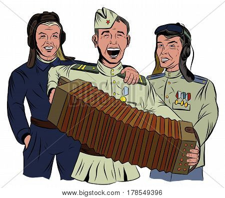 Three Soviet soldiers sing and play the accordion