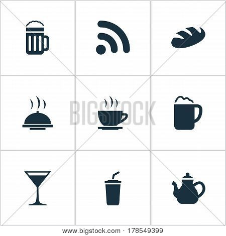 Vector Illustration Set Of Simple Beverage Icons. Elements Smoothie, Bread, Food Tray And Other Synonyms Serving, Beer And Smoothie.