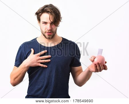 Caucasian Sexy Young Macho Holding Pink Piggy Pig Bank