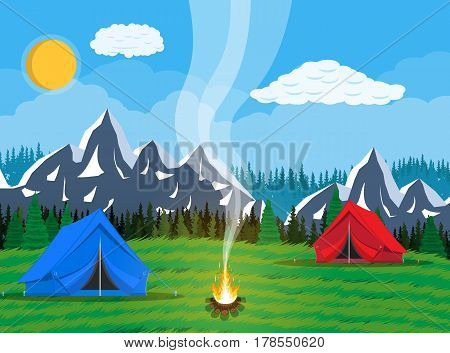 Meadow with grass and camping. Tents, bonfire, flowers, mountains, trees, sky, sun and clouds. Vector illustration in flat style