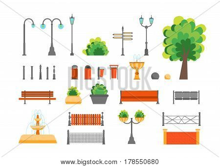 Cartoon Color Urban Park Elements Set for Place Public Flat Design Style. Vector illustration