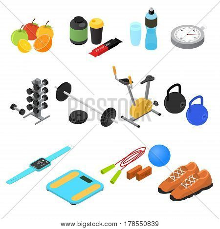 Sport Color Icons Set Isometric View Fitness Gym and Healthy Food Concept. Vector illustration