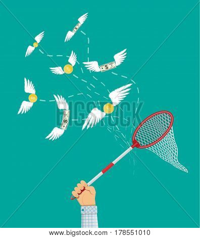 Dollars and coins with wings flying away from businessman hand with butterfly net. Losing money. Vector illustration in flat style