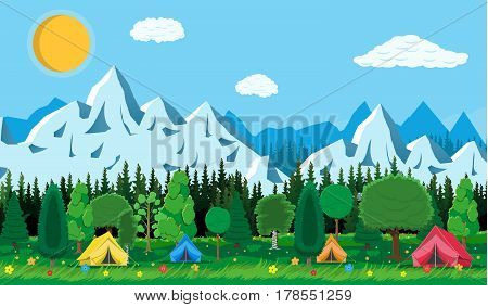 Meadow with grass and camping. Tents, flowers, mountains, trees, sky, sun and clouds. Vector illustration in flat style