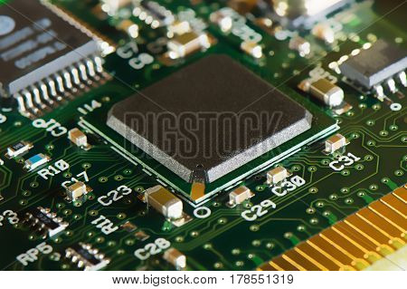 Macro Shot Of Integrated Circuit - Many Uses In The Electronics Industry.
