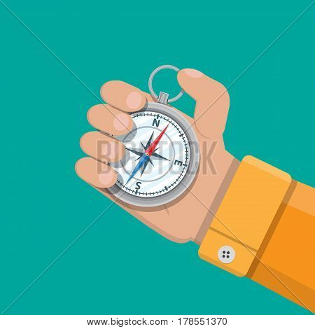 Vintage silver metal compass in hand. Orientation, location, navigation, route. Vector illustration in flat style