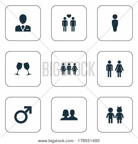 Vector Illustration Set Of Simple Couple Icons. Elements Mister, Barrister, Children And Other Synonyms Homosexual, Choice And Double.