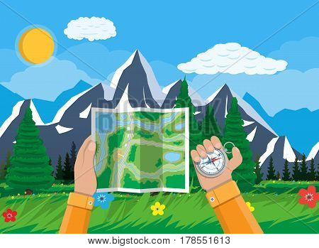 Folded paper city suburban map and compass in hands. Abstract generic map. GPS and navigation. Nature landscape with mountains and forest. Vector illustration in flat style