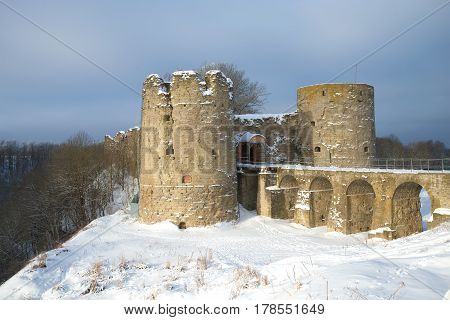 A view of the medieval Koporye fortress, cloudy winter day. Leningrad region, Russia