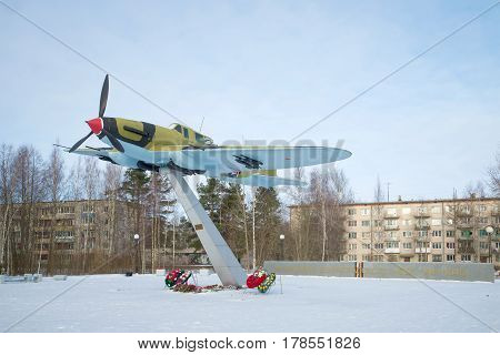 LEBYAZH'YE, RUSSIA - FEBRUARY 06, 2017: The Il-2 attack plane on a pedestal in the cloudy February afternoon. Monument to