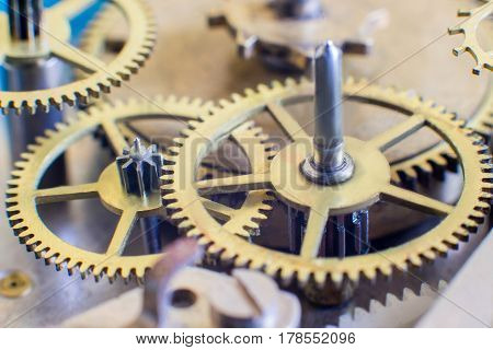 The old clock mechanism.The gears in the mechanism.