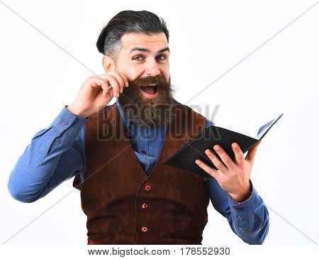 Bearded Man Holding Notepad With Happy Face