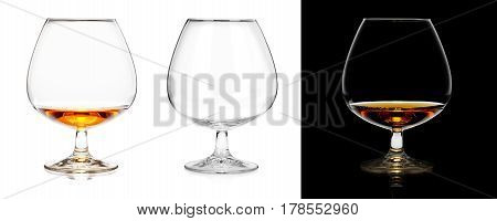 Brandy Glasses (empty And With Alcohol) Isolated On White And Black