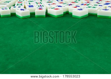Large Space of Mahjong Table with Tiles Background