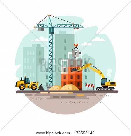 Construction site, building a house. Vector illustration.