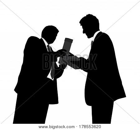 Giving award. Successful man receiving an award. Isolated white background. EPS file available.