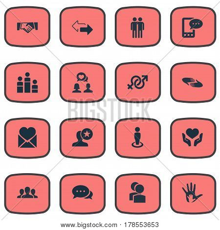 Vector Illustration Set Of Simple Friends Icons. Elements Arrows, Talk, Singleness And Other Synonyms Mates, Valentine And Team.