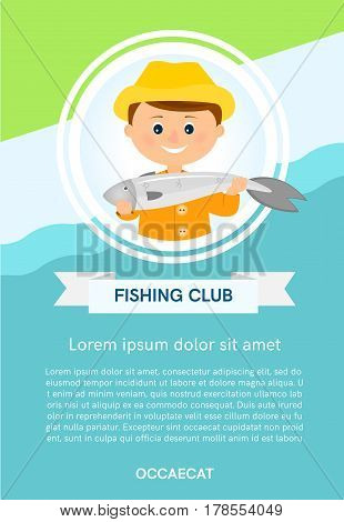 Poster, banner with fisherman and fish in round frame with place for your text.Flat style.Vector illustration.