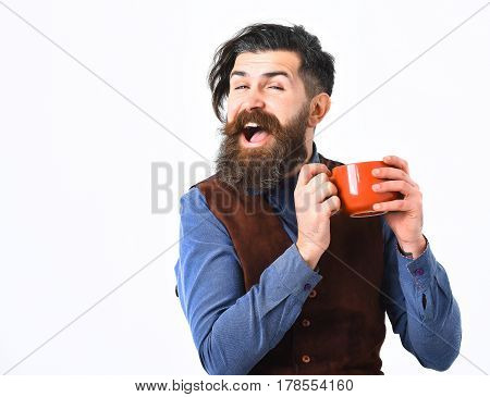 Bearded Man Holding Cup With Coffee, Tea With Happy Face