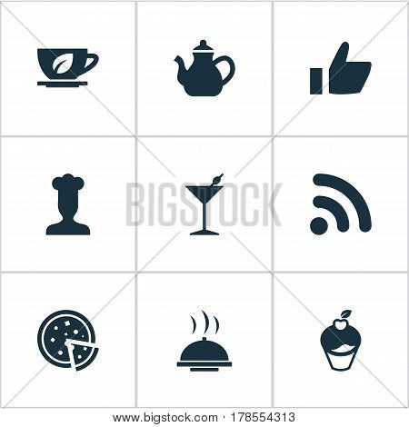 Vector Illustration Set Of Simple Cafe Icons. Elements Gastronomy, Coffee, Wireless Connection And Other Synonyms Wireless, Favorite And Beverage.