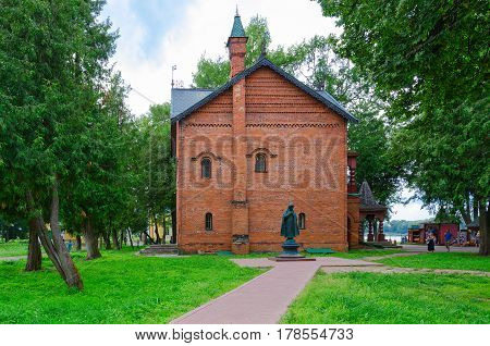 UGLICH RUSSIA - JULY 19 2016: Unknown tourists are near Chamber of Uglich feudal princes (built in 1480) Uglich Kremlin Russia