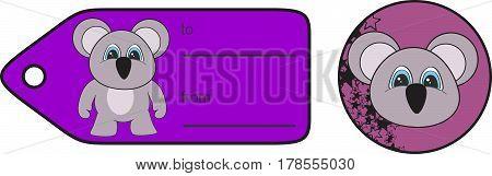 sweet little chubby koala cartoon gift card in vector format very easy to edit