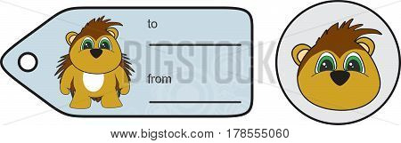 sweet little chubby porcupine cartoon gift card in vector format very easy to edit