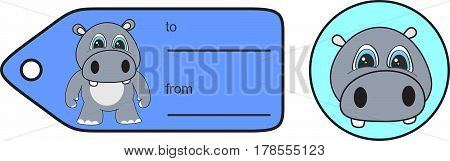 sweet little chubby hippo cartoon gift card in vector format very easy to edit