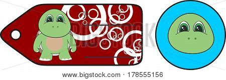 sweet little chubby turtle cartoon gift card in vector format very easy to edit