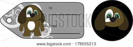 sweet little chubby puppy cartoon gift card in vector format very easy to edit