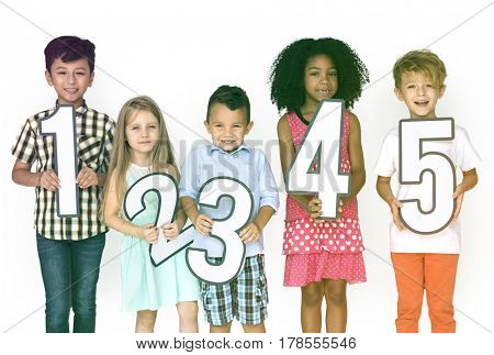 Kids Holding Symbol Number Icon