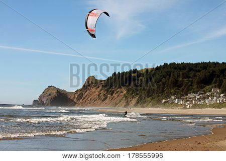 Kite Surfer at the Beach in Lincoln City Oregon