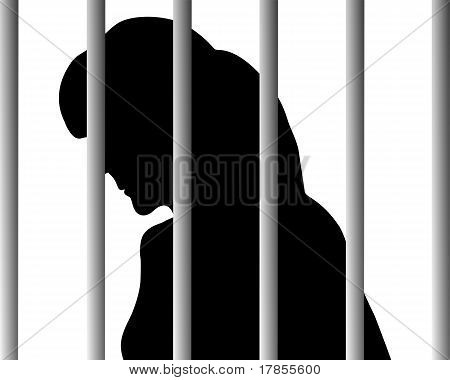 Detailed and colorful illustration of woman behind bars poster