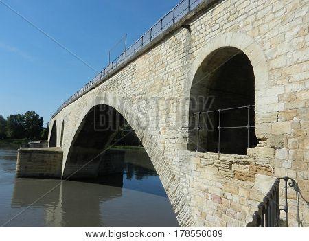 Angle view of Avignon Bridge in bright day
