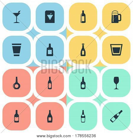 Vector Illustration Set Of Simple Water Icons. Elements Beverage, Brandy, Glassware Synonyms Vodka, Grape And Beer.