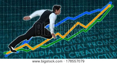 Businessman Running with Chart Graph Background Art 3D Illustration Render