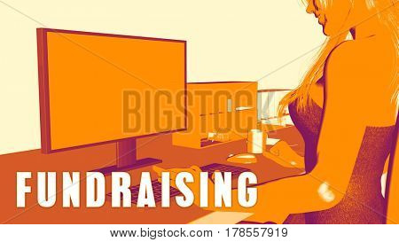 Fundraising Concept Course with Woman Looking at Computer 3D Illustration Render
