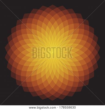 Orange Geometric Sunburst - Geometric Sunburst Pattern with transparent shapes. EPS 10.