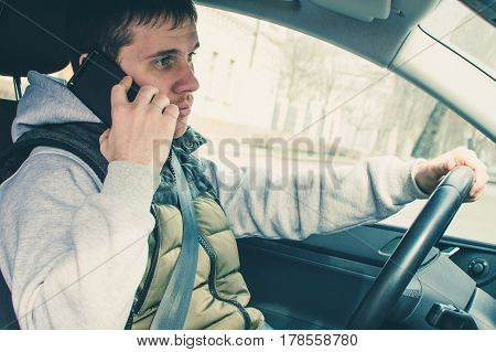 Calling By Driving. Risky Driver Using Phone While Driving