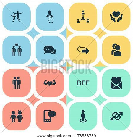Vector Illustration Set Of Simple Mates Icons. Elements Camaraderie, Cooperation, Arrows And Other Synonyms Man, Gay And Pointer.