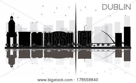 Dublin City skyline black and white silhouette with reflections. Simple flat concept for tourism presentation, banner, placard or web site. Cityscape with famous landmarks.
