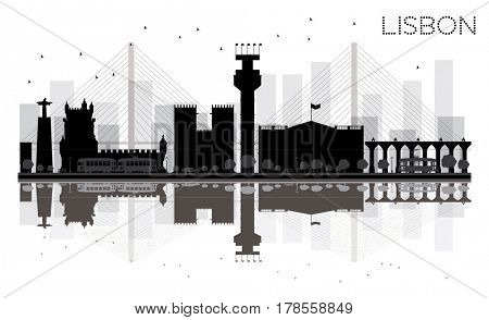 Lisbon City skyline black and white silhouette with reflections. Simple flat concept for tourism presentation, banner, placard or web site. Business travel concept. Cityscape with landmarks
