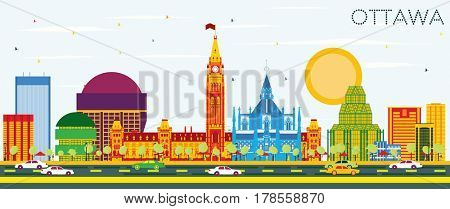 Ottawa Skyline with Color Buildings and Blue Sky. Business Travel and Tourism Concept with Modern Architecture. Image for Presentation Banner Placard and Web Site.